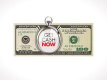 Ahora consiga dólares del efectivo - concepto rápido del préstamo - 100 con el cronómetro Imagen de archivo libre de regalías