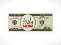 Ahora consiga dólares del efectivo - concepto rápido del préstamo - 100 con el cronómetro Fotos de archivo libres de regalías