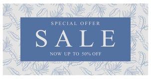 Ahora el hasta 50% de descuento Oferta especial en un marco azul Bandera del vector de la venta stock de ilustración