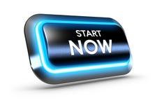 Ahora encienda el botón sobre el fondo blanco Imagen de archivo libre de regalías