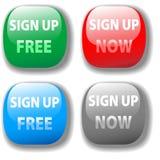 Ahora firme para arriba libremente el conjunto del botón del icono del Web site Foto de archivo libre de regalías