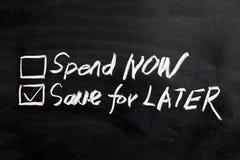 Ahora pase o salve para más adelante Imágenes de archivo libres de regalías