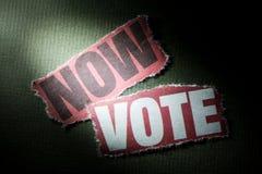 Ahora voto Foto de archivo libre de regalías