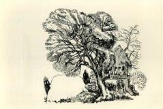 Ahornbaum und Stein nahe dem alten Haus Zwei Monster lizenzfreie abbildung