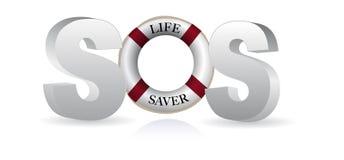Ahorrador de vida el SOS Imagen de archivo libre de regalías