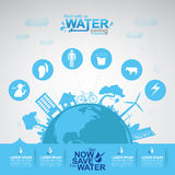 Ahorre el agua del vector del agua es vida Foto de archivo