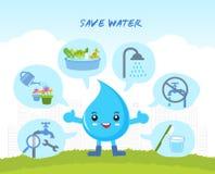 Ahorre el agua, infographic Imagen de archivo libre de regalías