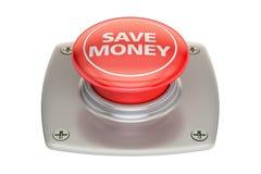 Ahorre el botón rojo del dinero, representación 3D Imagenes de archivo