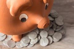Ahorre el concepto del dinero con el cerdo de la arcilla Fotografía de archivo