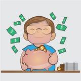 Ahorre el dinero en la hucha el ejemplo de la historieta del concepto del márketing financiero Fotos de archivo