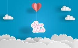 Ahorre el diseño del arte del papel de la fecha Globo y nubes del corazón Día encantador Ilustración del vector EPS 10 ilustración del vector