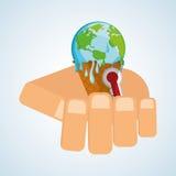 Ahorre el diseño del planeta Icono de la ecología Piense el concepto verde Fotos de archivo libres de regalías