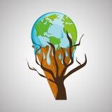 Ahorre el diseño del planeta Icono de la ecología Piense el concepto verde, ejemplo del vector Imagen de archivo