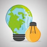Ahorre el diseño del planeta Icono de la ecología Piense el concepto verde, ejemplo del vector Imagenes de archivo