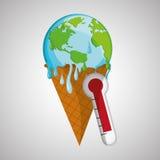 Ahorre el diseño del planeta Icono de la ecología Piense el concepto verde, ejemplo del vector Foto de archivo