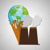 Ahorre el diseño del planeta Icono de la ecología Piense el concepto verde, ejemplo del vector Fotografía de archivo