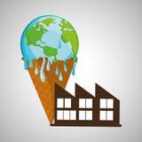 Ahorre el diseño del planeta Icono de la ecología Piense el concepto verde, ejemplo del vector Imágenes de archivo libres de regalías