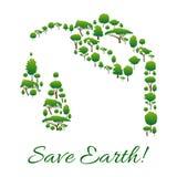 Ahorre el símbolo de la tierra de árboles en forma del descenso de la gasolina Imagenes de archivo