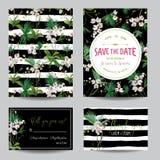Ahorre el sistema de tarjeta de fecha Flores tropicales y hojas de la orquídea que se casan la invitación Foto de archivo