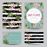 Ahorre el sistema de tarjeta de fecha Flores tropicales y hojas de la orquídea que se casan la invitación ilustración del vector