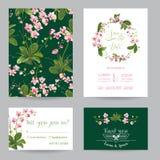 Ahorre el sistema de tarjeta de fecha Flores tropicales y hojas de la orquídea que se casan la invitación Imagen de archivo libre de regalías