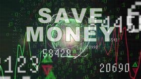 Ahorre el texto del dinero en gr?fico del mercado de acci?n con la exhibici?n del precio de la carta de barra, pantalla del comer stock de ilustración