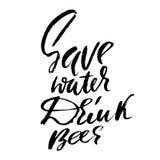 Ahorre la cerveza de la bebida del agua cartel tipográfico de las Mano-letras Inscripción monocromática del vector Seque el cepil Imágenes de archivo libres de regalías