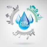 Ahorre la ecología del concepto del vector del agua Imágenes de archivo libres de regalías