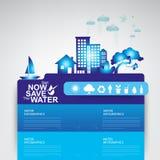 Ahorre la ecología del concepto del vector del agua Fotografía de archivo libre de regalías