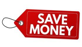 Ahorre la etiqueta o el precio del dinero imagen de archivo