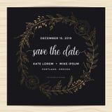 Ahorre la fecha, casandose la plantilla de la tarjeta de la invitación con la guirnalda de oro de la flor del color libre illustration