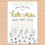 Ahorre la fecha, casandose la tarjeta de la invitación con la decoración floral y de oro dibujada mano de la flor del brillo Fond Fotografía de archivo