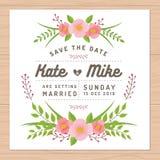Ahorre la fecha, casandose la tarjeta de la invitación con las plantillas de la flor Fondo floral de la flor Foto de archivo libre de regalías