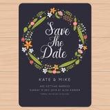 Ahorre la fecha, casandose la tarjeta de la invitación con las plantillas de la flor Fondo floral de la flor Fotografía de archivo