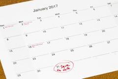 Ahorre la fecha escrita en un calendario - 31 de enero Fotos de archivo