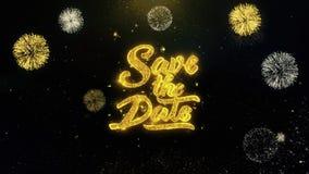 Ahorre la fecha escrita las partículas del oro que estallan la exhibición 1 de los fuegos artificiales