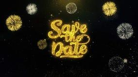 Ahorre la fecha escrita las partículas del oro que estallan la exhibición de los fuegos artificiales