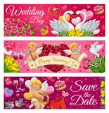 Ahorre la fecha, letras de día de boda, símbolos del amor stock de ilustración