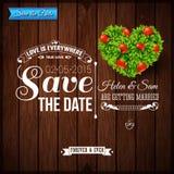 Ahorre la fecha para el día de fiesta personal Invitación de la boda en de madera Foto de archivo
