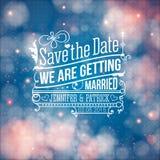 Ahorre la fecha para el día de fiesta personal. Invitación de la boda. Vector i Foto de archivo