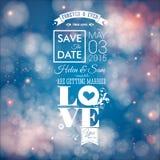 Ahorre la fecha para el día de fiesta personal Invitación de la boda Vector i Foto de archivo