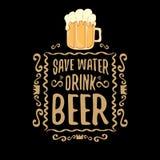 Ahorre la impresión del concepto del vector de la cerveza de la bebida del agua o el cartel del marrón del vintage cita o lema en stock de ilustración