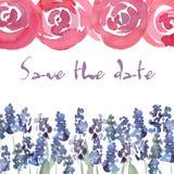 Ahorre la invitación de la fecha con las rosas de la acuarela Invitación floral de la boda de la acuarela del vector Foto de archivo