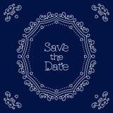Ahorre la línea plantilla de la tarjeta de fecha del diseño de la boda del arte Imagen de archivo libre de regalías