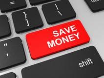 Ahorre la llave del dinero en el teclado del ordenador portátil. Imagen de archivo libre de regalías