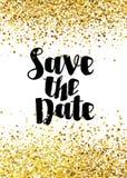 Ahorre la plantilla de oro de la invitación de la boda del brillo de la fecha stock de ilustración