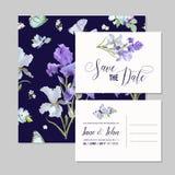 Ahorre la tarjeta de fecha con Iris Flowers y las mariposas Plantillas florales de la invitación de la boda fijadas Diseño botáni Fotografía de archivo