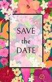 Ahorre la tarjeta de fecha con las flores rojas, rosadas y amarillas Foto de archivo libre de regalías