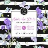 Ahorre la tarjeta de fecha con las flores y las mariposas Plantilla floral de la invitación de la boda Diseño botánico para las t Imagen de archivo
