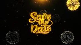 Ahorre la tarjeta de felicitaciones de los deseos de la fecha, invitación, fuego artificial de la celebración colocado